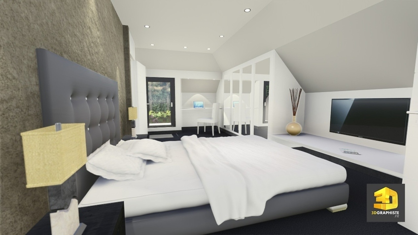 perspective 3d chambre a coucher