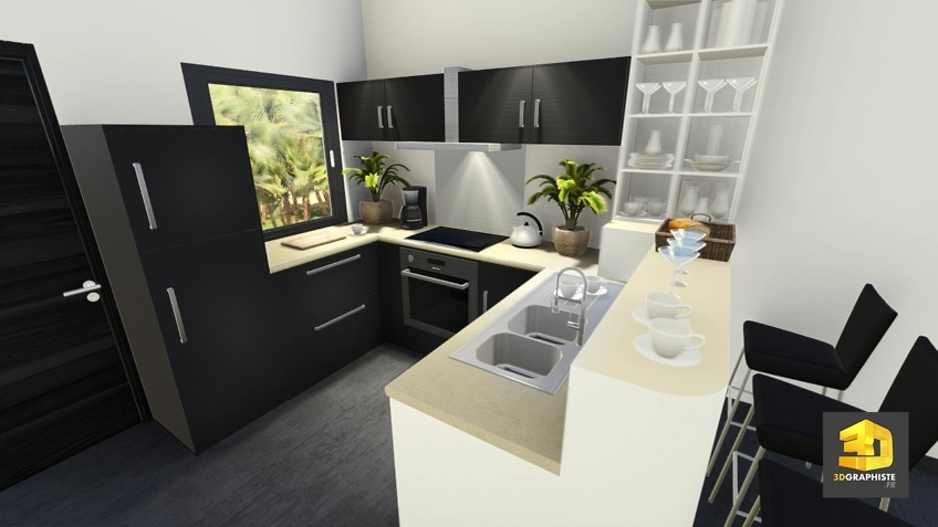 perspective 3d interieure : cuisine
