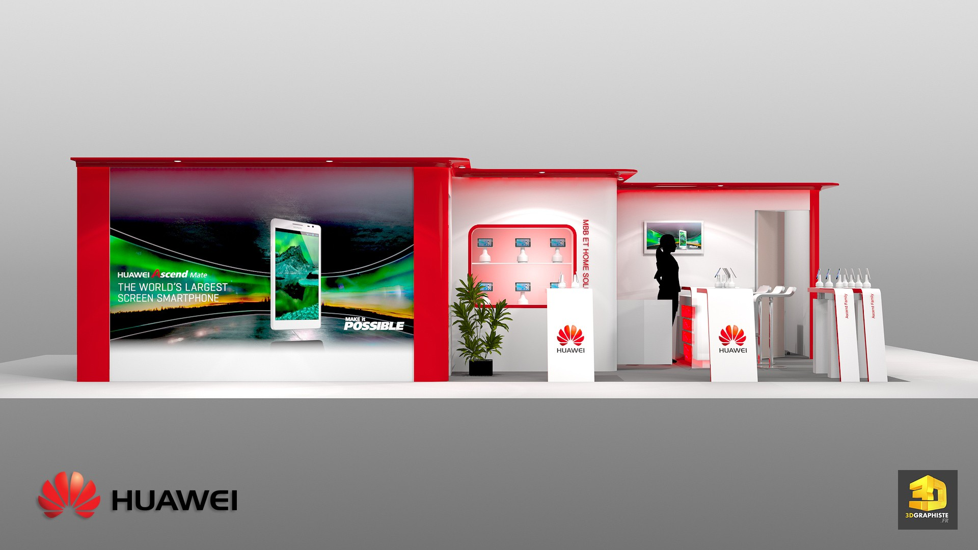 Stand huawei stand pour salon professionnel 3dgraphiste fr for Concepteur de stand