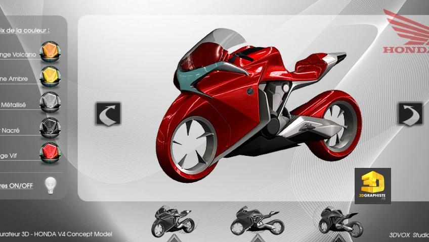 Configurateur 3D précalculée d'un prototype de moto Honda