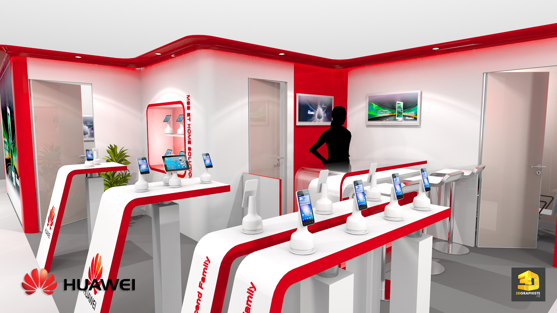 Stand huawei stand pour salon professionnel 3dgraphiste fr for Salon exposition