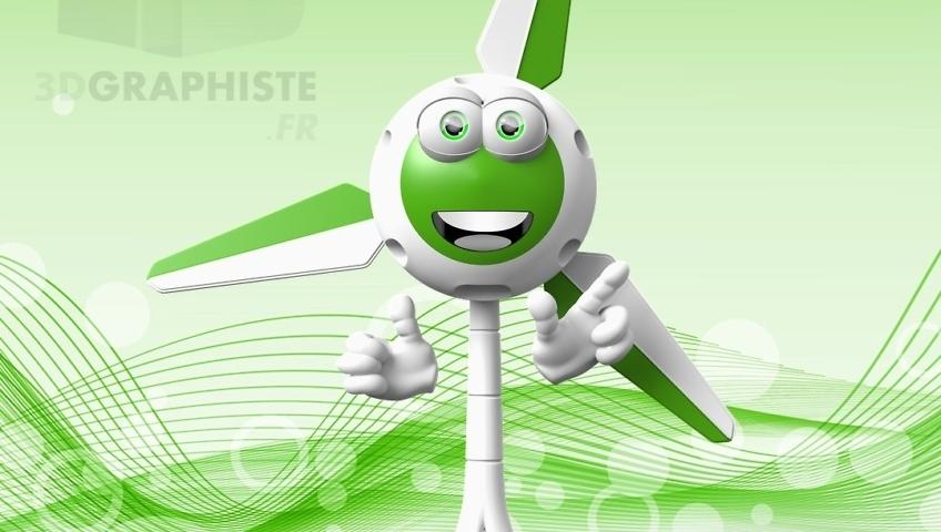 Illustrateur 3D - Mascotte 3D Éolienne - Personnage 3D Éolienne