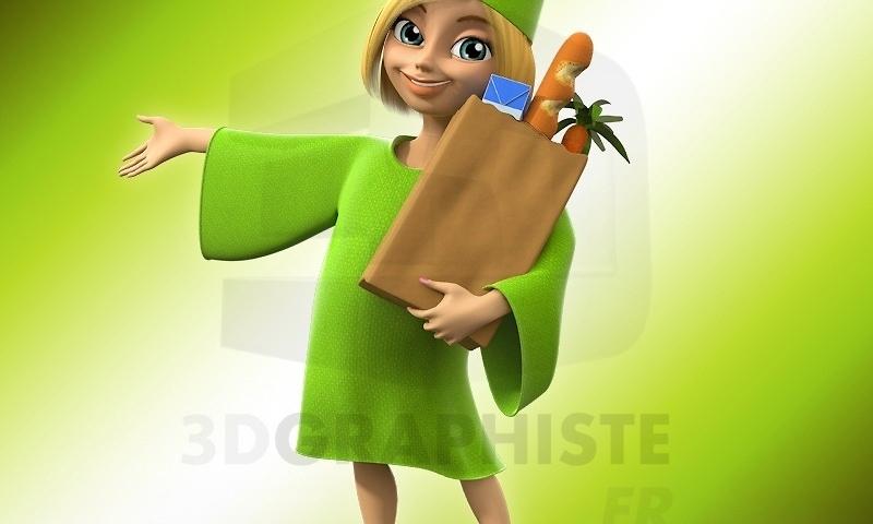 mascotte 3d fee enfant personnage 3d