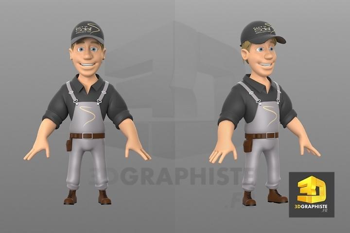 mascotte 3d : travailleur