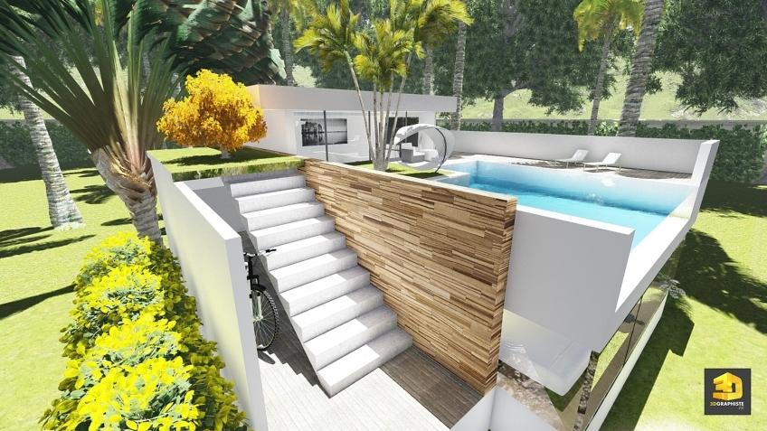perspective 3d extérieure - villa d'architecte