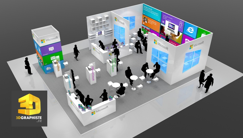 Concepteur de stand stand microsoft for Stand pour foire expo