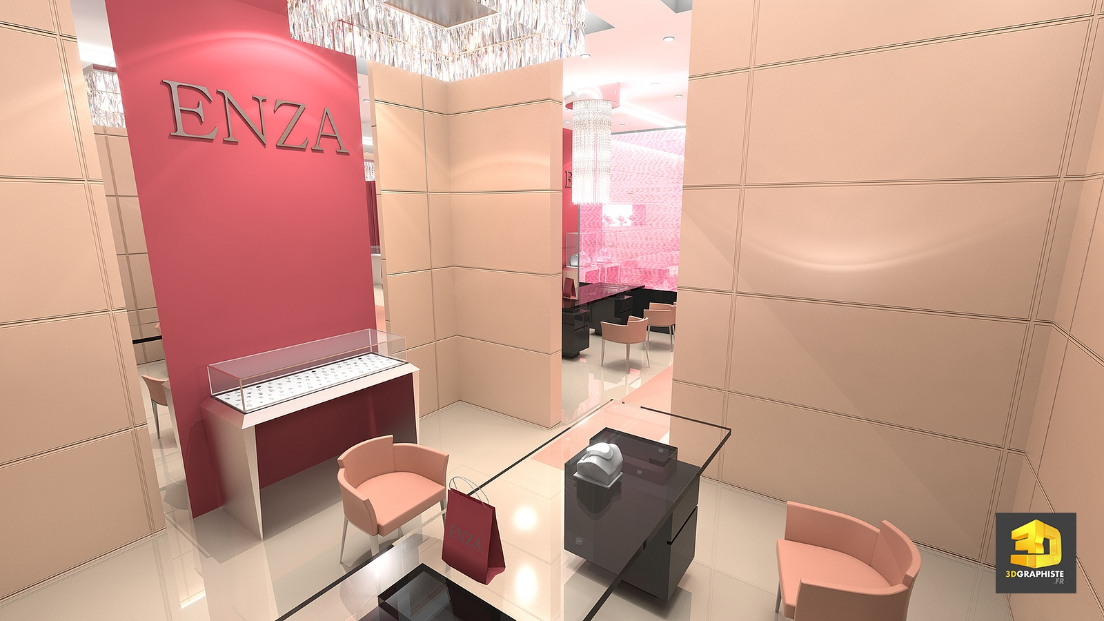Designer boutique magasins enza for Plan 3d amenagement interieur