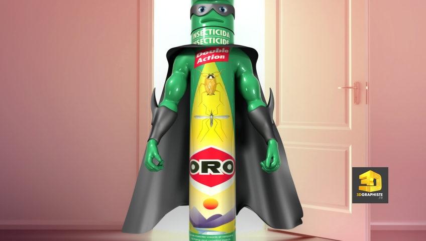 Animation 3D Pub TV ORO - Personnage Spray