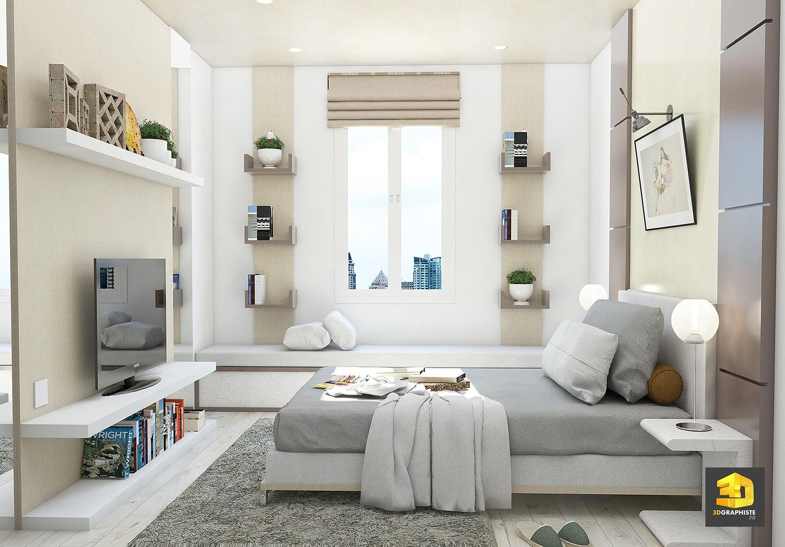 Perspectives d 39 int rieur d 39 appartement chambre coucher for Chambre a coucher 3d