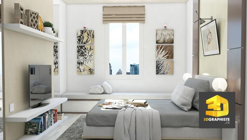 Perspectives d\'intérieur d\'appartement : Chambre à coucher ...