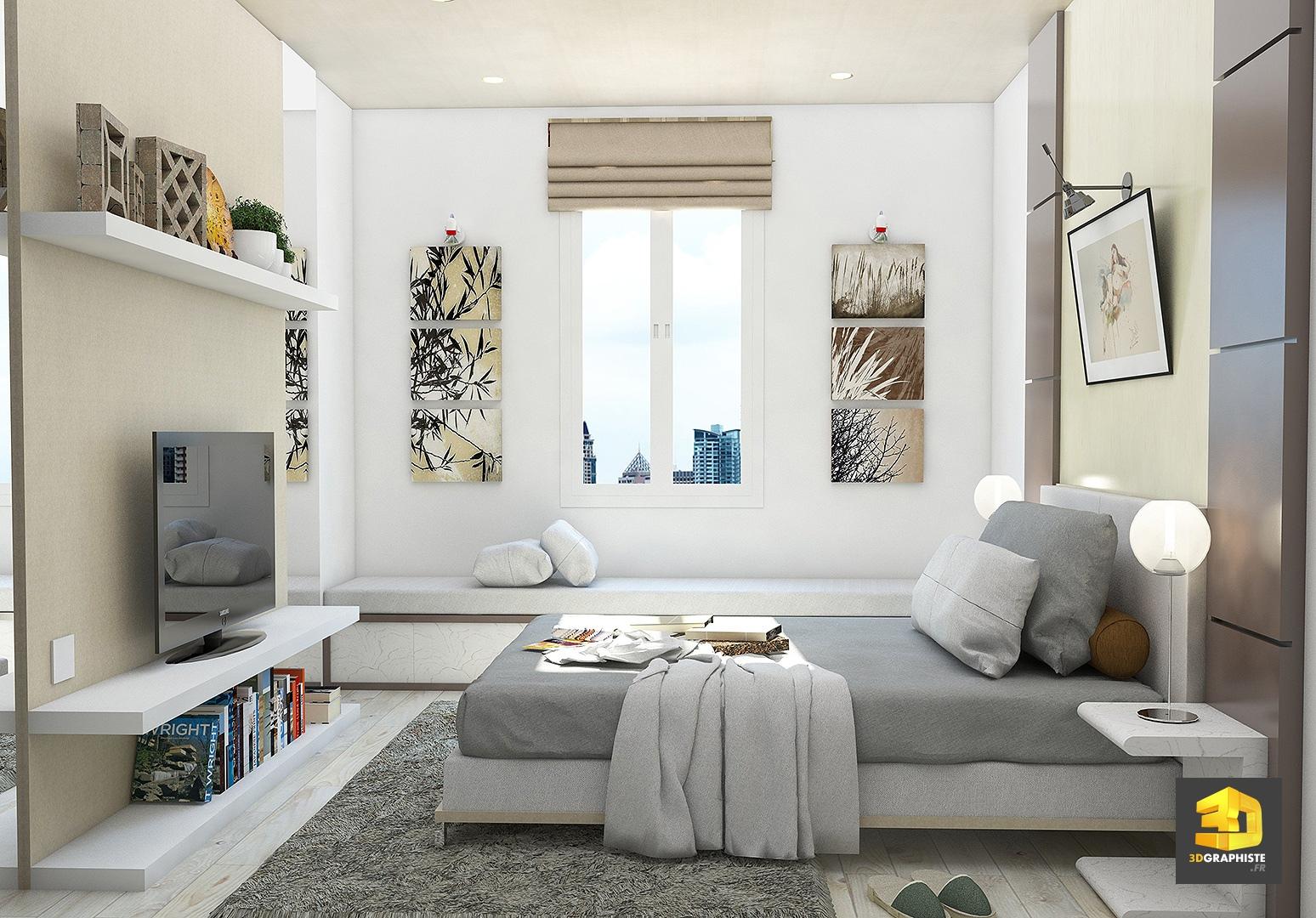 perspective int rieure le design d 39 interieur en 3d 3dgraphiste fr. Black Bedroom Furniture Sets. Home Design Ideas