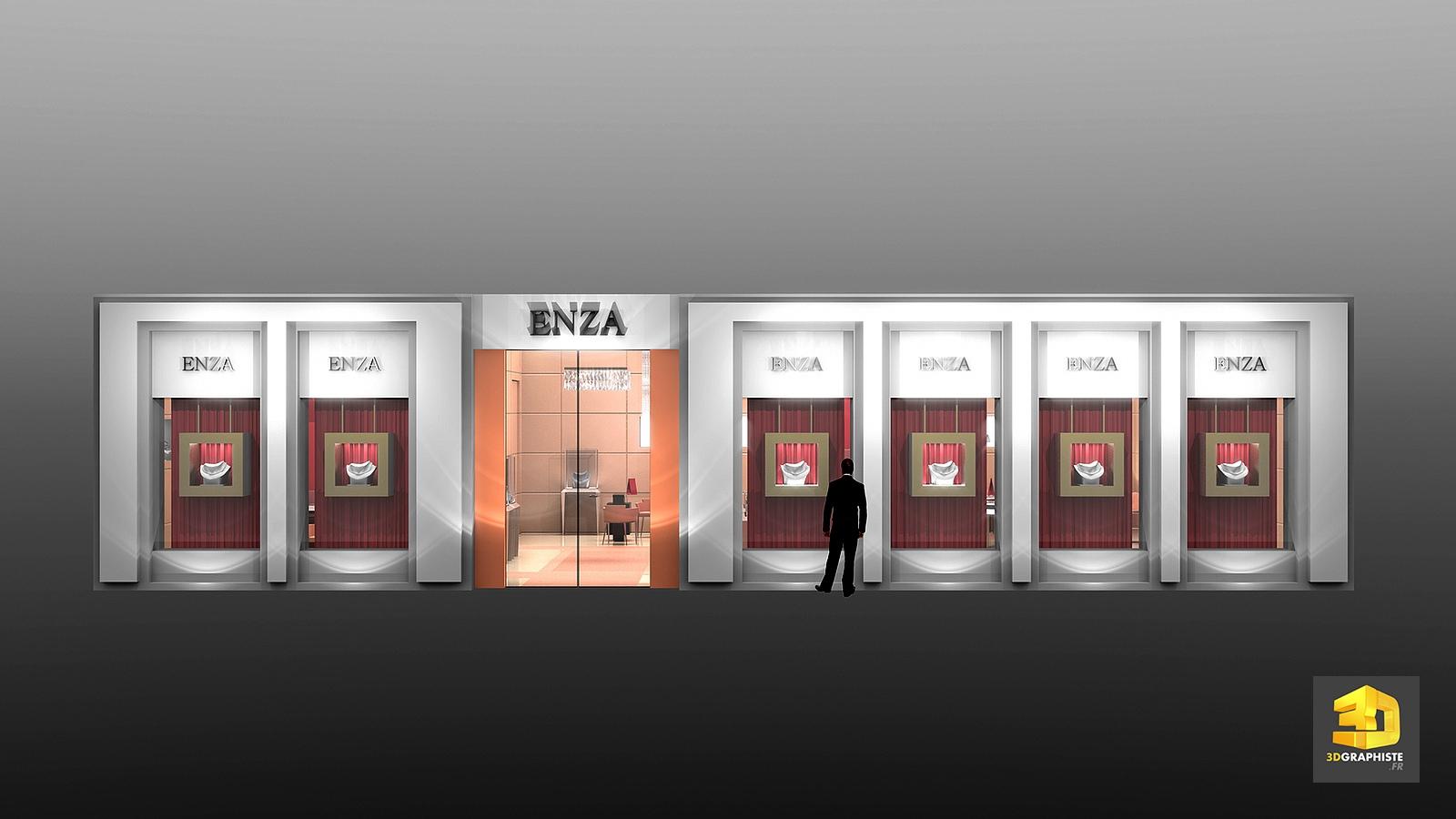 conception magasin design ext rieur fa ade vitrines enza 3dgraphiste fr. Black Bedroom Furniture Sets. Home Design Ideas
