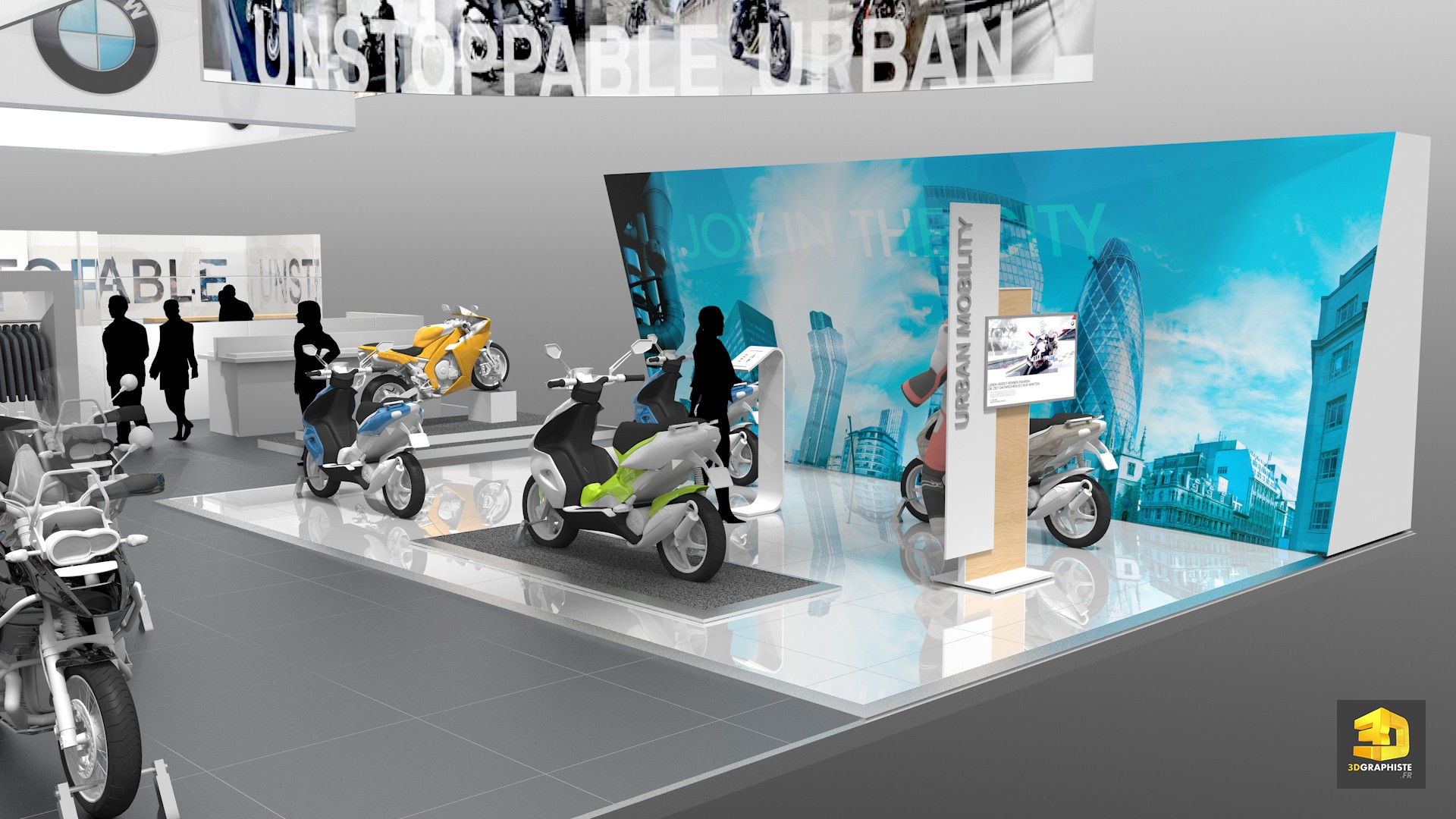 Stand bmw stand d 39 exposition showroom moto et scooter for Creation de stand pour salon