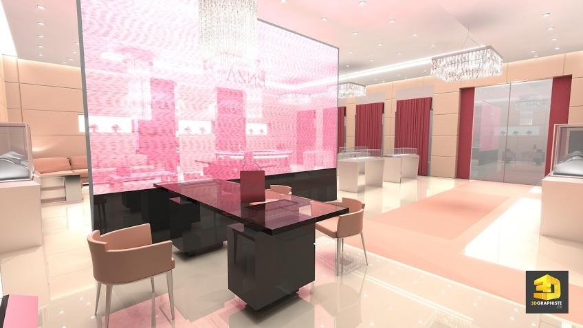 Création design intérieur magasin bijouterie Enza