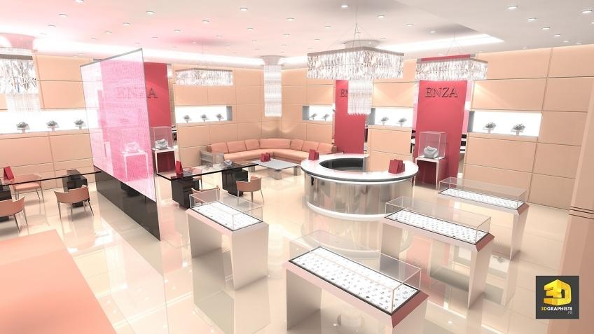 Designer magasins - design d'une boutique de luxe Enza