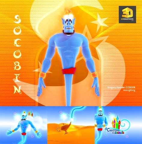 Dessin animé 3D Aladdin Génie