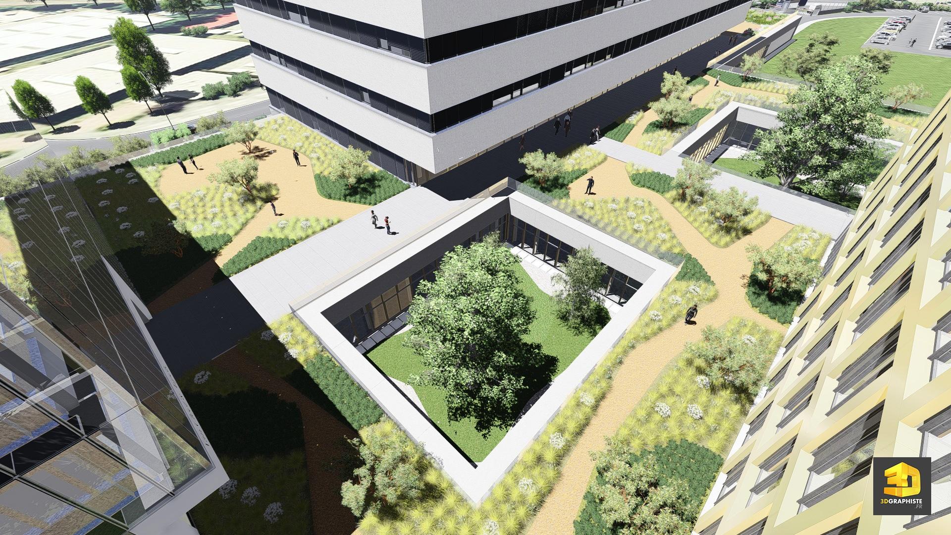 infographiste 3d architecture campus universitaire en 3d. Black Bedroom Furniture Sets. Home Design Ideas