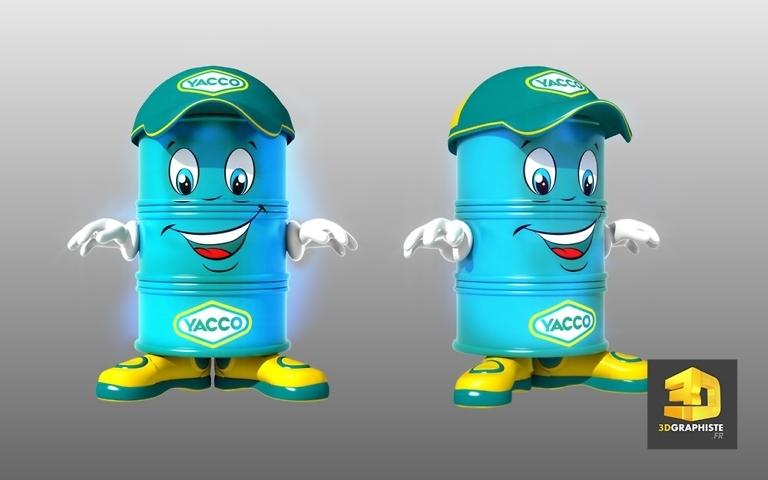 Graphiste mascotte 3D personnage - Bidon d'huile