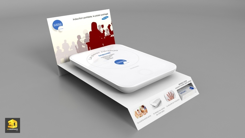 Graphiste PLV carton - présentoir Samsung