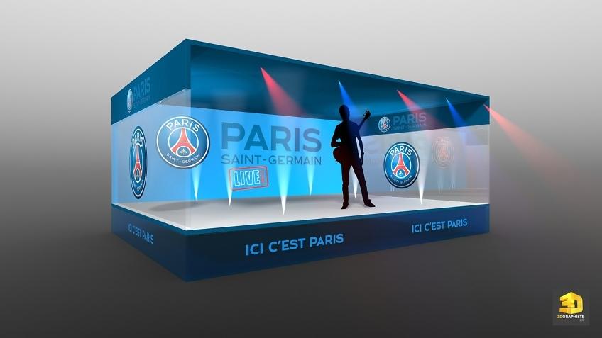 Illustration 3D évènementielle - Concert PSG - Infographiste