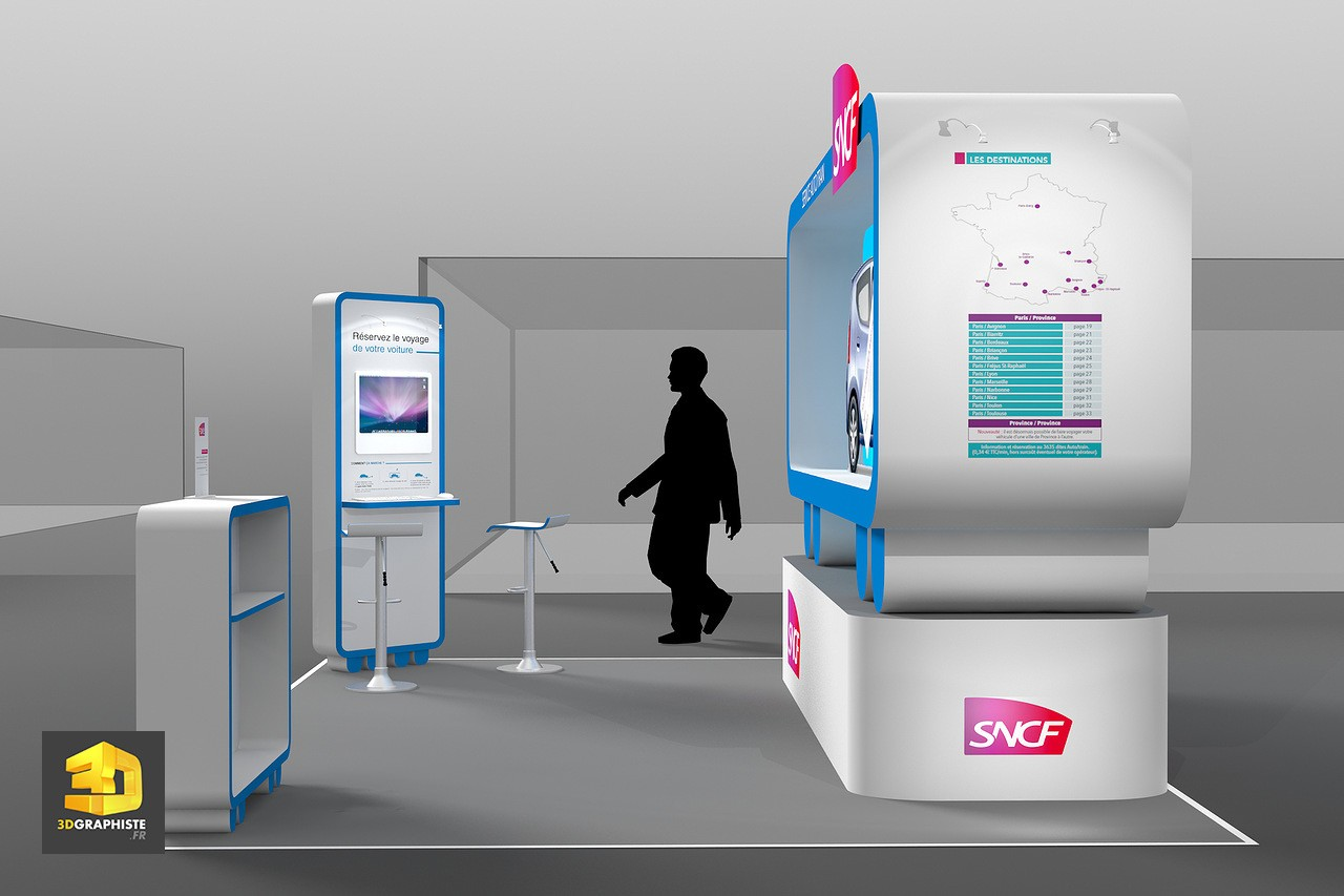 Illustration 3d stand sncf 3dgraphiste fr for Concepteur de stand
