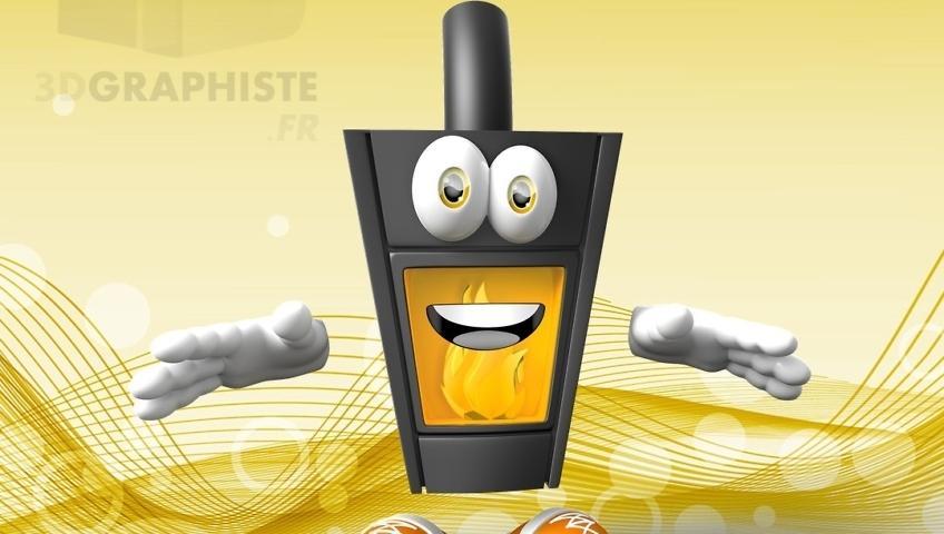 Mascotte 3D poêle à charbon