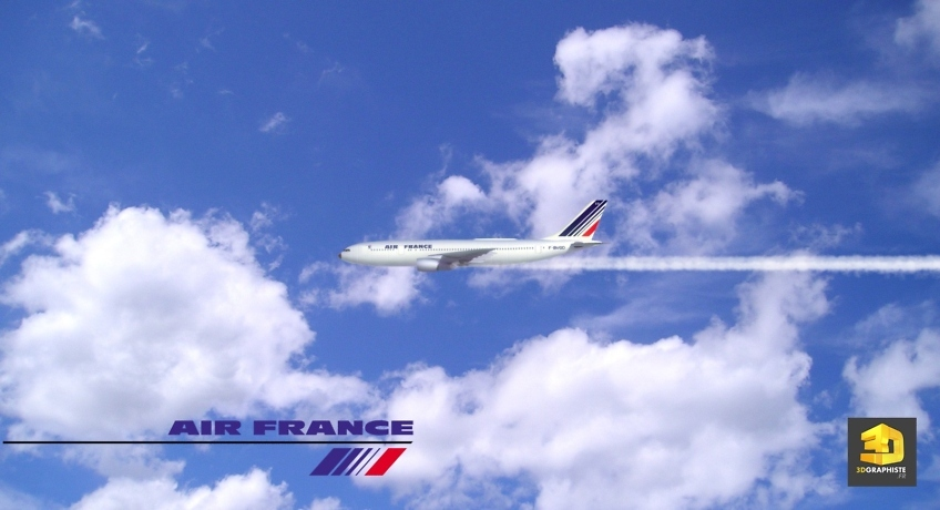 Modelisation 3d avion air france - airbus
