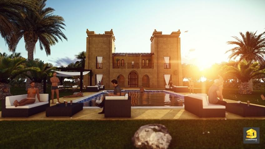 perspective 3d hotel Maroc