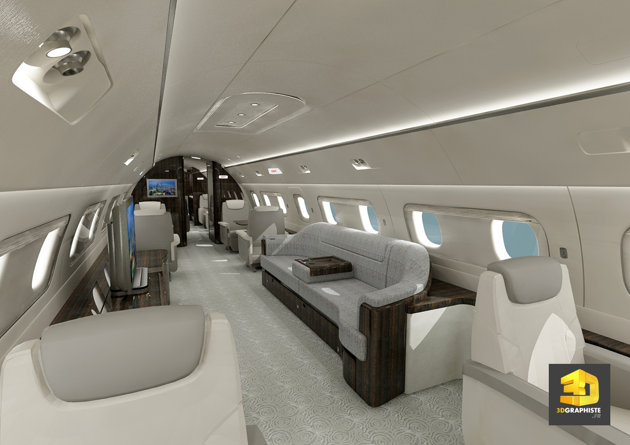 Mod lisation 3d avion 3dgraphiste fr for Interieur d avion air france