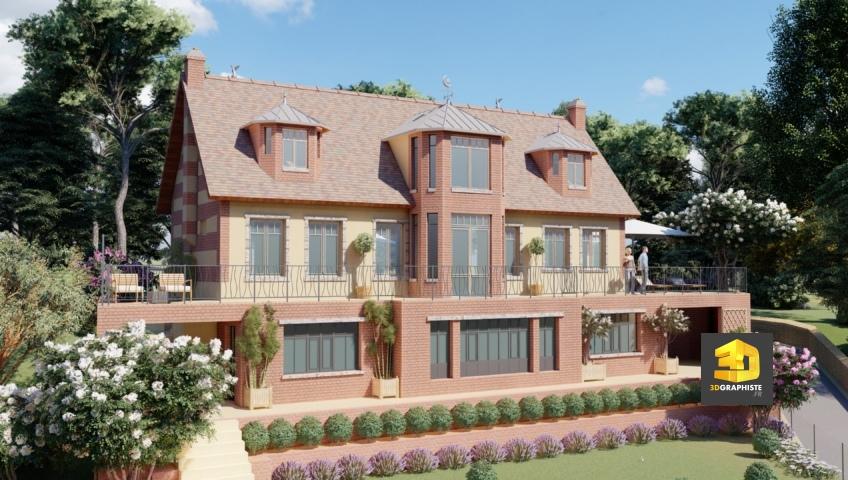 Perspective 3D maison individuelle