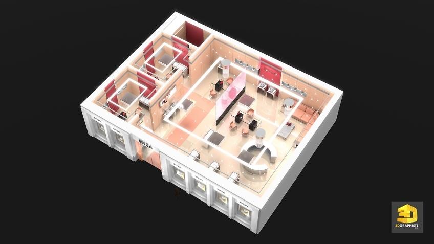 Plan d'un agencement commercial magasin Enza