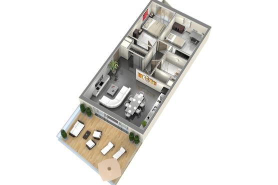 Plan de vente appartement t3 axonométrie 3D