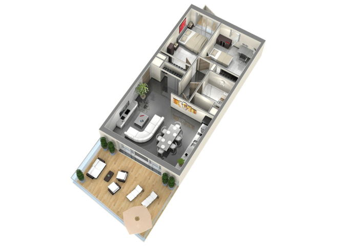 Plan de vente appartement t3 axonométrie 3D