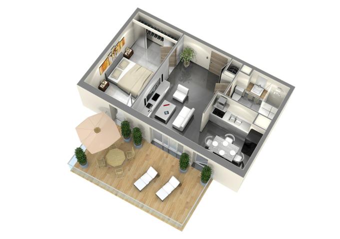 Plan de vente t2 infographiste 3d Axonométrie