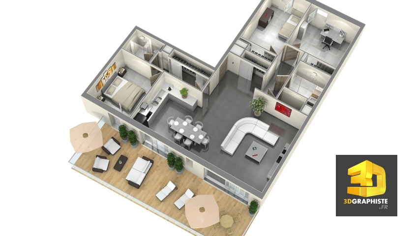 Plan de vente t4 perspectiviste 3d Axonométrie