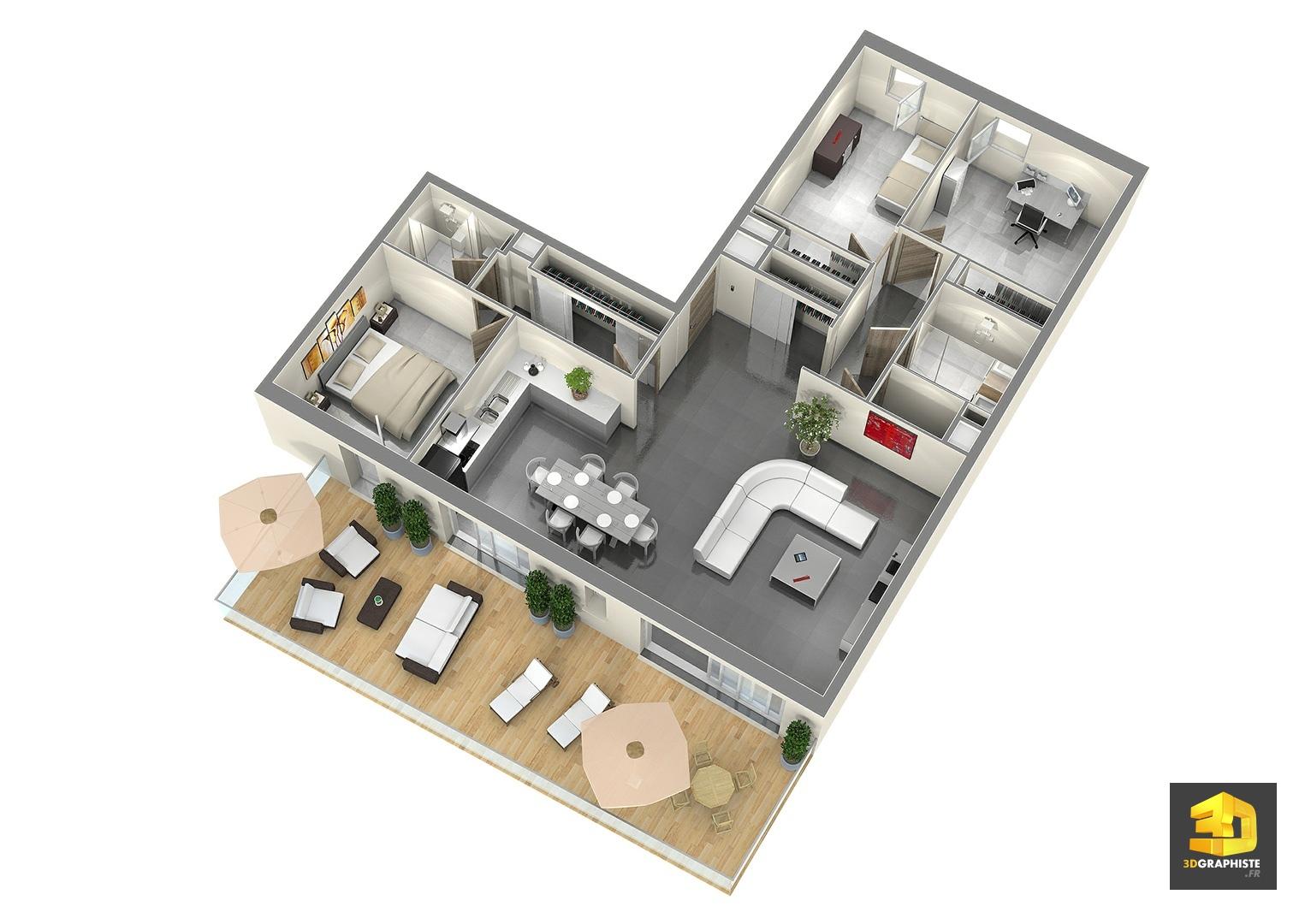 plan de vente t4 perspectiviste 3d 3dgraphiste fr. Black Bedroom Furniture Sets. Home Design Ideas