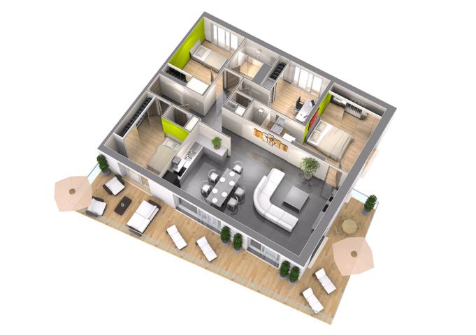 Plan de vente t5 perspective 3d Axonométrie