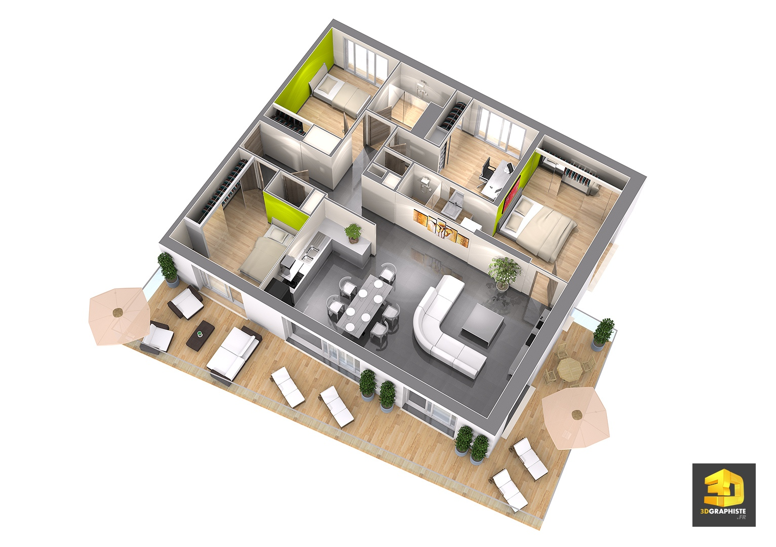 Plan appartement moderne 3d for Maison plan 3d