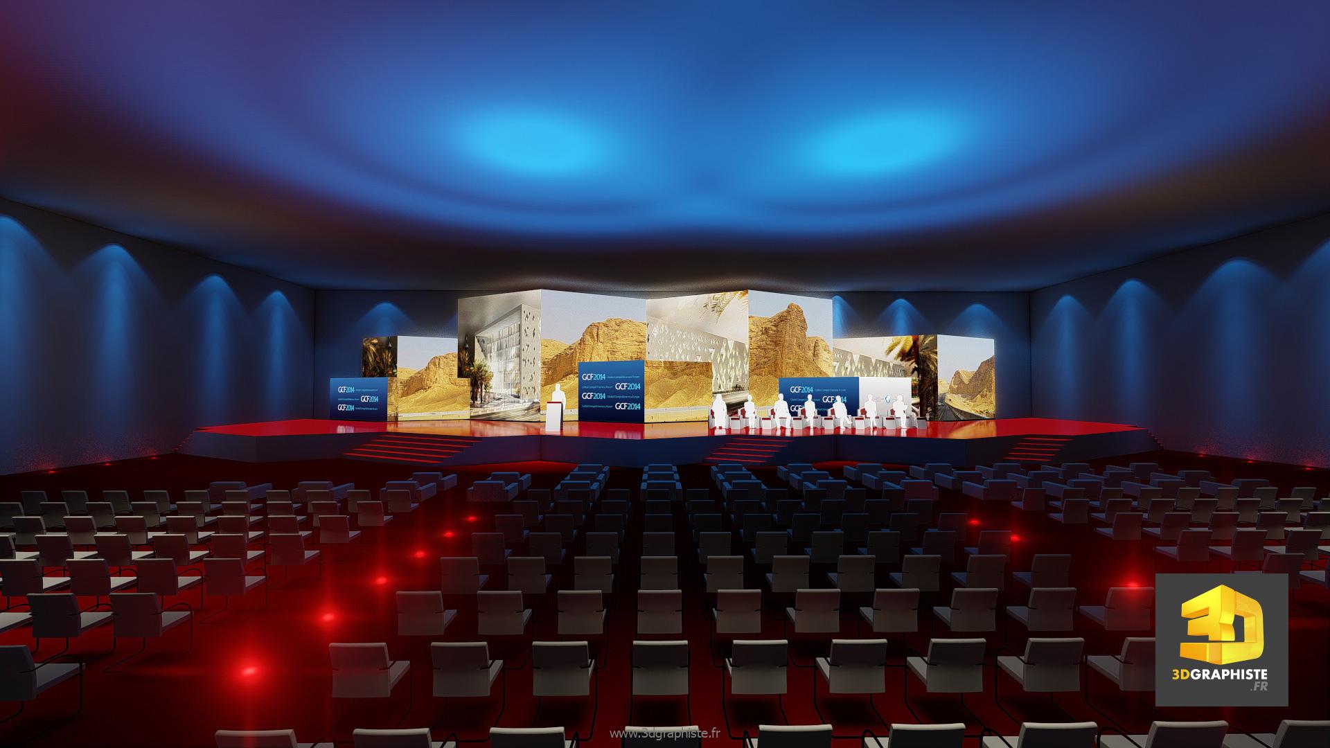 Scénographie de convention plénière rough 3D