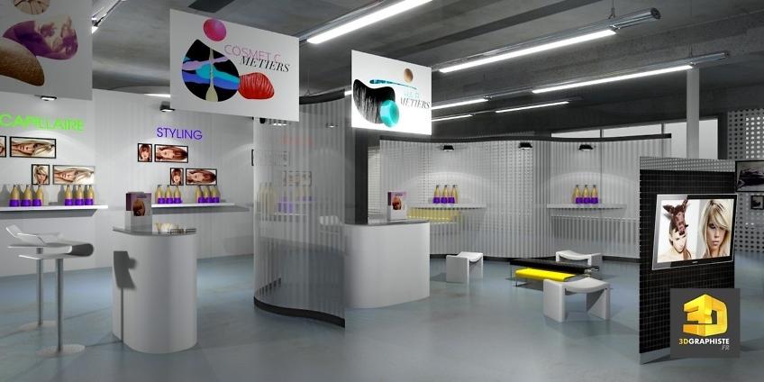 Showroom évènementiel L'Oréal - Graphiste 3D