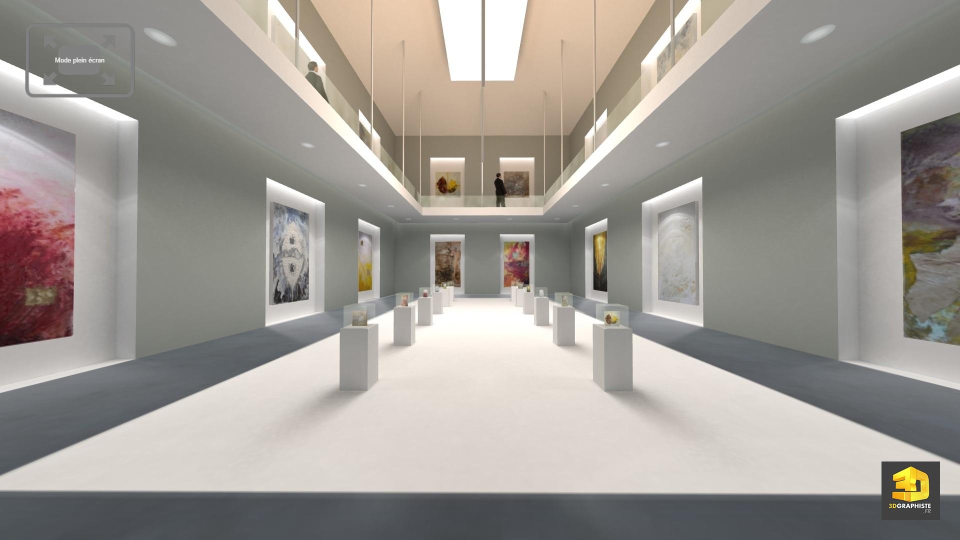 visite virtuelle 3d d 39 une galerie d 39 art contemporain 3dgraphiste fr. Black Bedroom Furniture Sets. Home Design Ideas