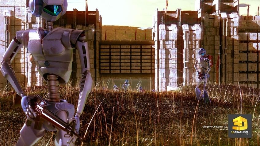 Illustrateur 3d image science fiction - Robots guerriers en patrouille
