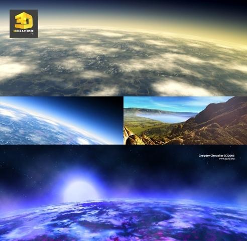 Illustration science fiction planetes extra-terrestres dans l'espace