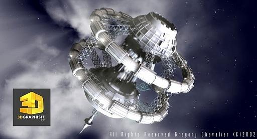 Infographie 3d science fiction - station spatiale