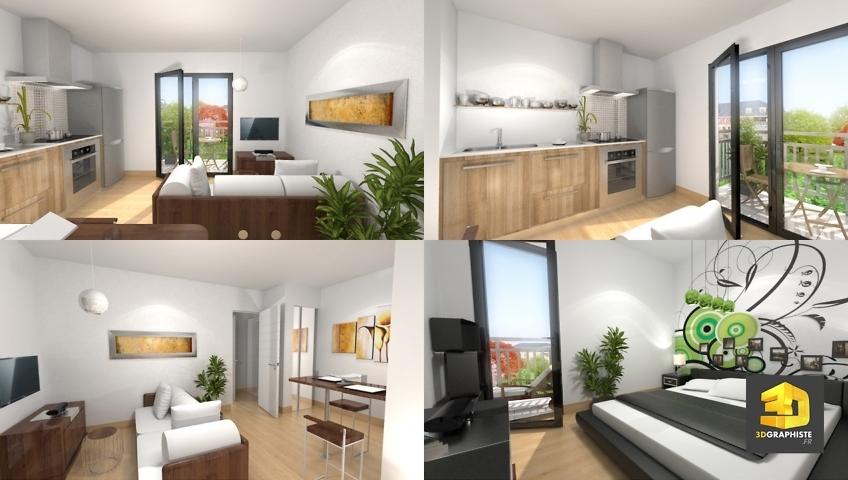 graphiste 3d architecture perspectives 3d d 39 un appartement t2 3dgraphiste fr. Black Bedroom Furniture Sets. Home Design Ideas
