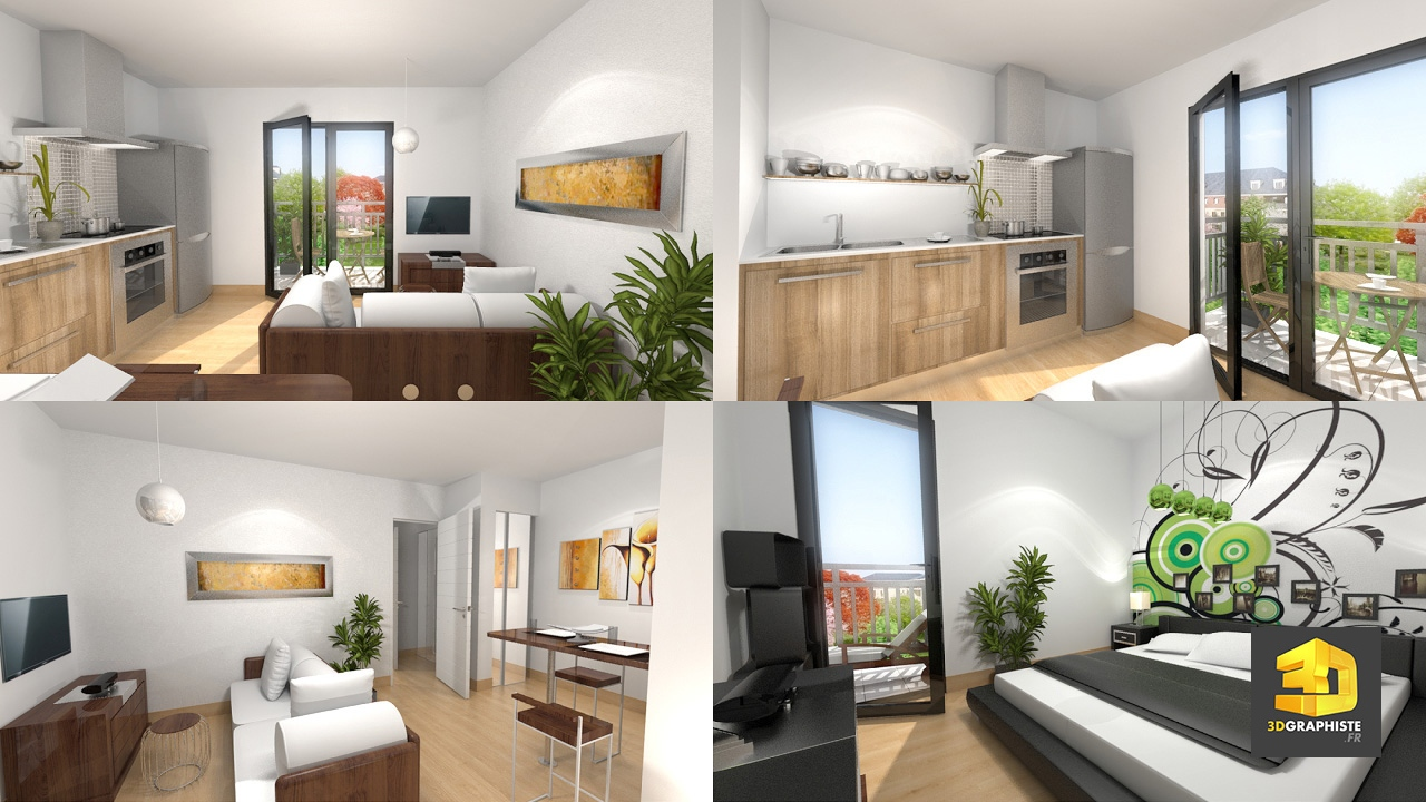 Appartement t2 en infographie graphiste 3d architecture for Appartement design t2