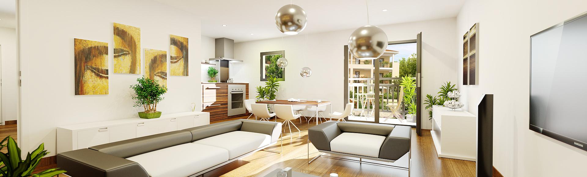 appartement t3 séjour - infographiste 3d - résidence jardins de Lys