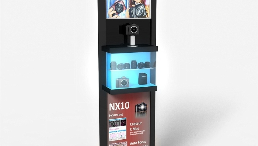 Bornes de demonstration pour appareils photo Samsung - PLV