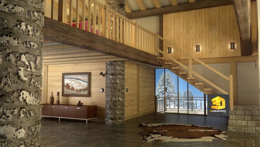 chalet interieur perspective 3d