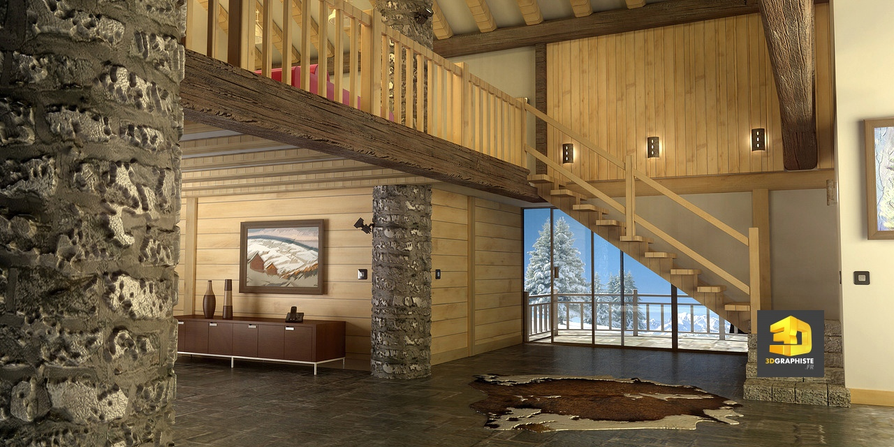 perspective 3d d int rieur d 39 un chalet de montagne. Black Bedroom Furniture Sets. Home Design Ideas